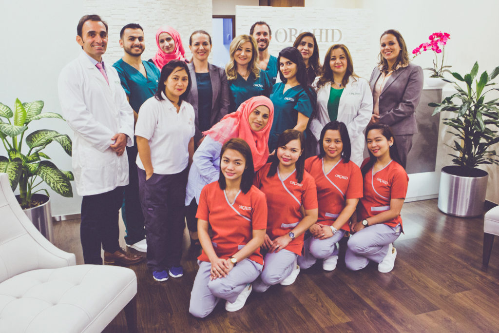 The Orchid Fertility team poses for a picture at their facility in Dubai.