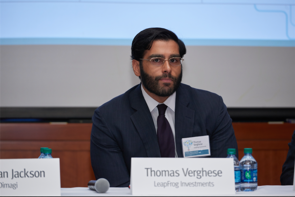 Thomas Verghese, pictured here, is an associate director at LeapFrog and leader on their investments team.